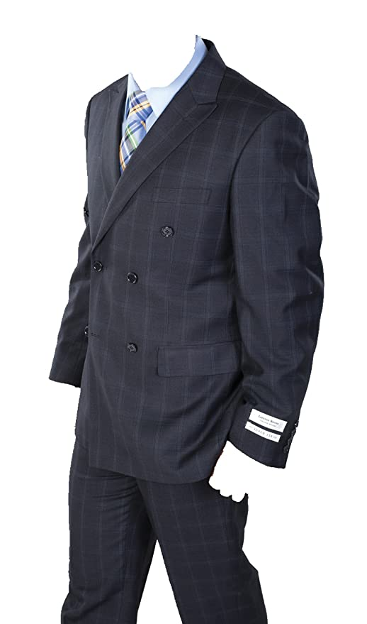 1940s Men's Suit History and Styling Tips Mens Two Piece Windowpane Plaid Suit (Navy) $119.00 AT vintagedancer.com