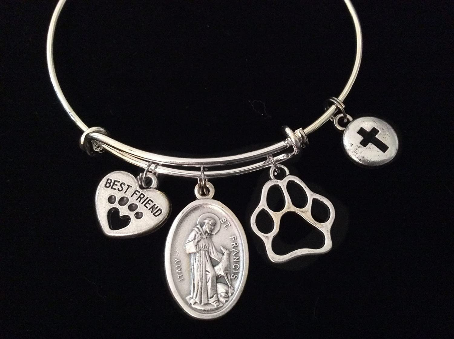 Saint Francis Patron of Animal Silver Expandable Charm Bracelet Best Friend Paw Cross Bangle Double Sided Adjustable Gift