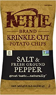 product image for Kettle Brand Potato Chips, Krinkle Cut Salt & Fresh Ground Pepper, 8.5 Ounce (Pack of 12)