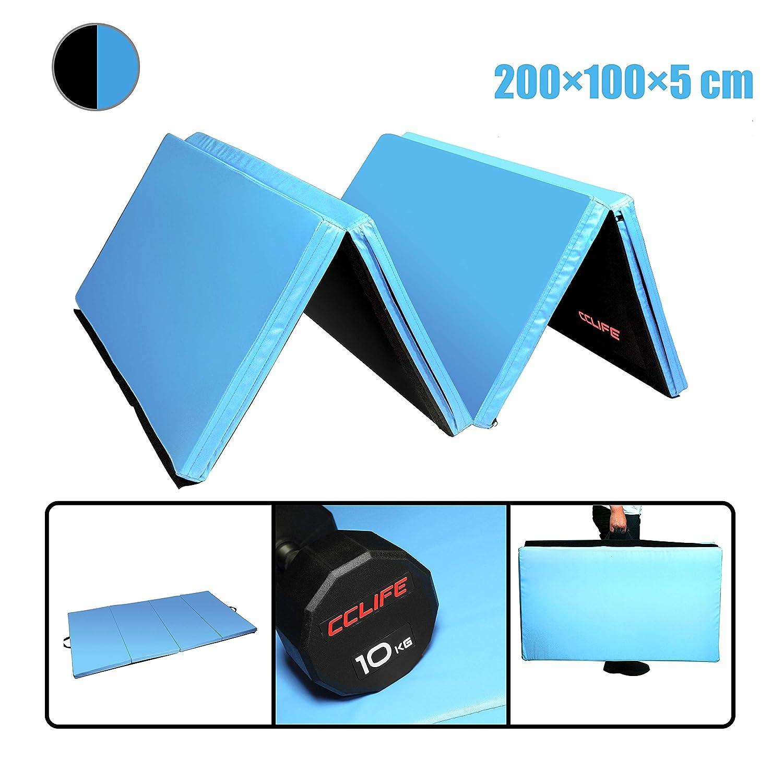 Tapis Gymnastique Pliable CCLIFE 200x100x5cm Bleu Tapis de Gymnastique Epais Tapis Sol Gymnastique Matelas Gymnastique