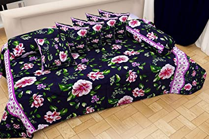 Choice Homes 3D Designer Printed diwan Set 8 Pieces of Combo 2 Bolster,5 Cousins Covers and Single bedsheet