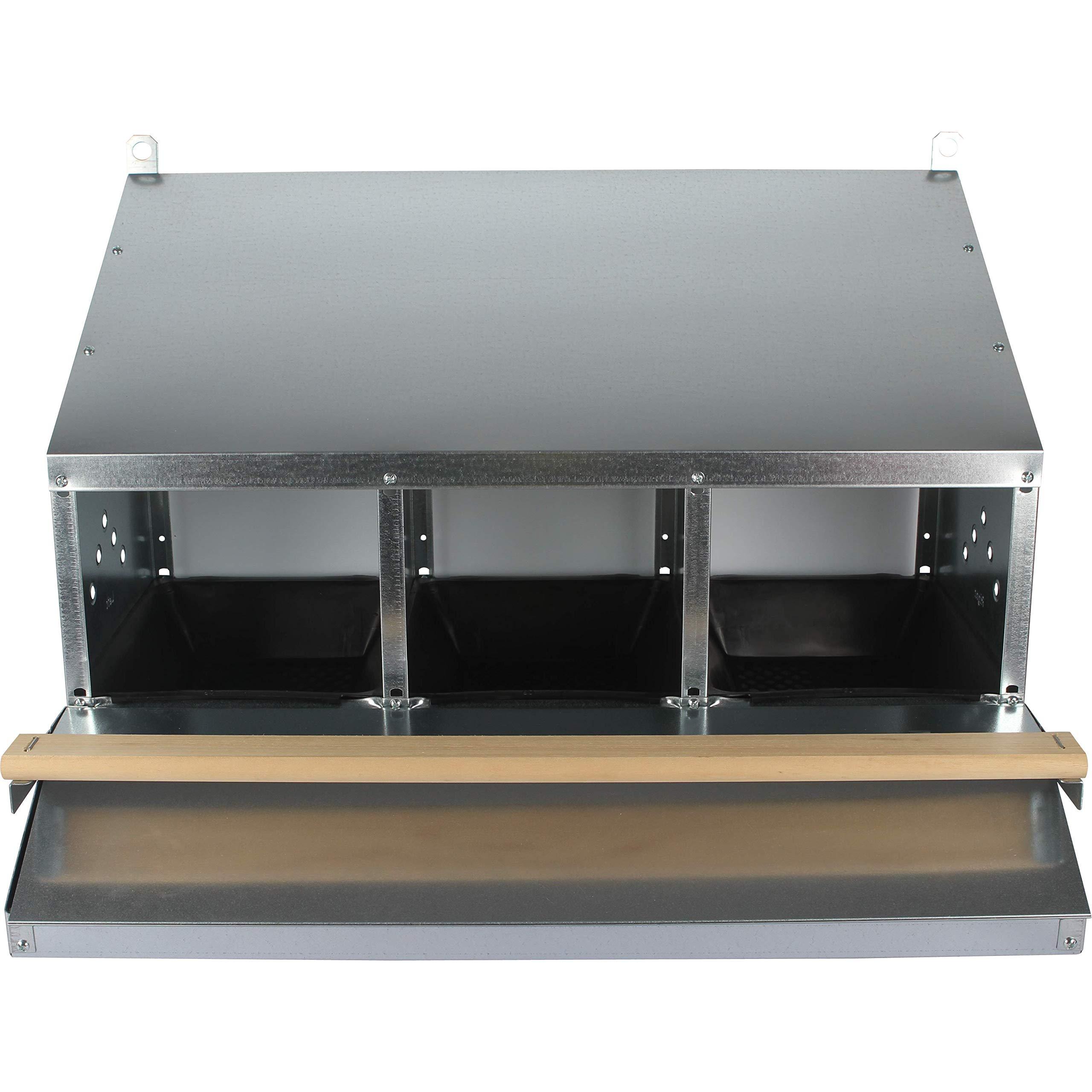 SKA Urban-Egg Roll Away Chicken Nest Box with Foldable Perch & Chute - Zinc-Plated Steel - 3-Hole by SKA