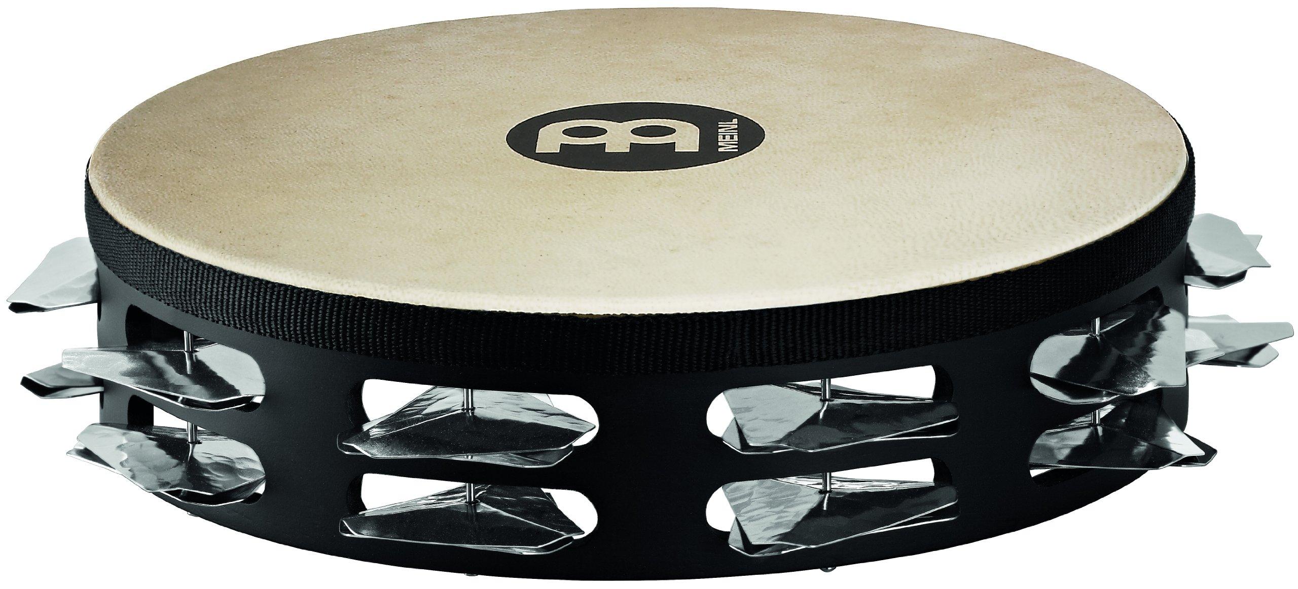 Meinl Percussion STAH2S-BK 10-Inch Headed Super Dry Studio Tambourine, 2 Rows Hammered Triangular Steel Jingles