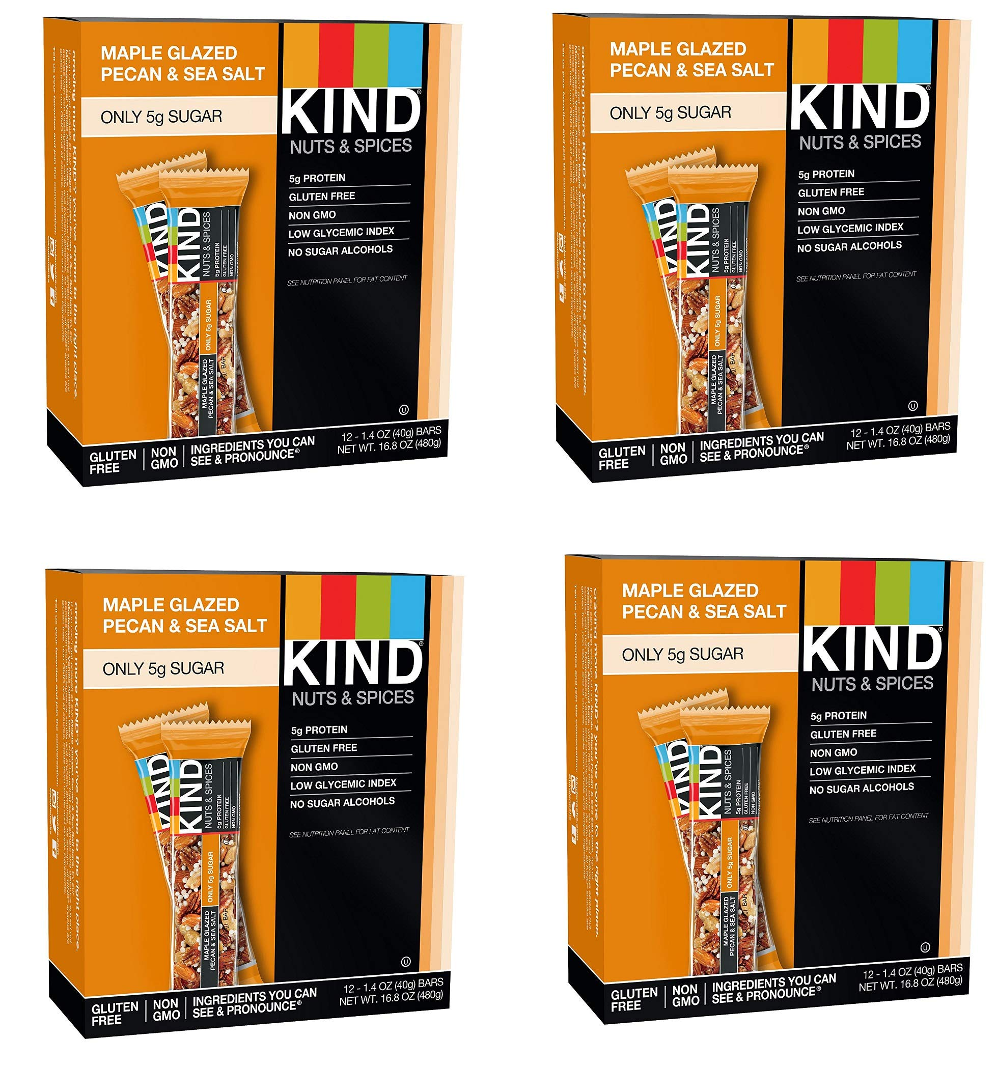 KIND Bars, Maple Glazed Pecan and Sea Salt, Gluten Free, Low Sugar, 1.4oz, 48 Bars