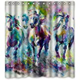 Nature Shower Curtain Custom Horse Design Waterproof Bathroom Shower Curtain