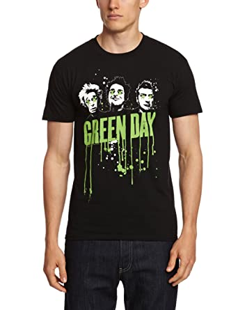 Green Day Mens Drips Short Sleeve T-shirt, Black, Medium