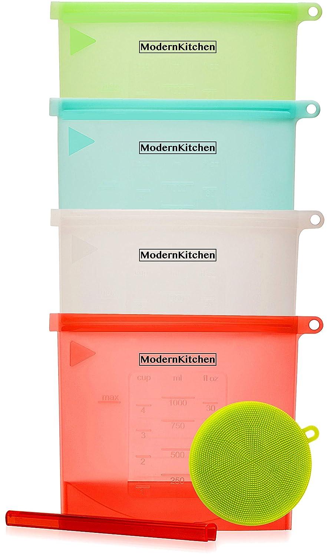 Reusable Silicone Food Storage Bags – Ziplock Sandwich, Snack Bag (4pack+Reusable Scrubber Sponge)