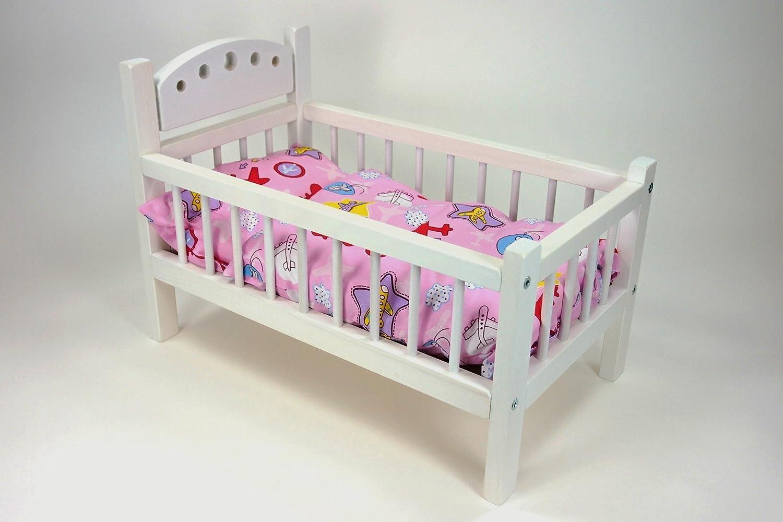 Puppenetagenbett Weiß : Puppenbett weiß aus lackiertem holz mit rosa bettwäsche cm x