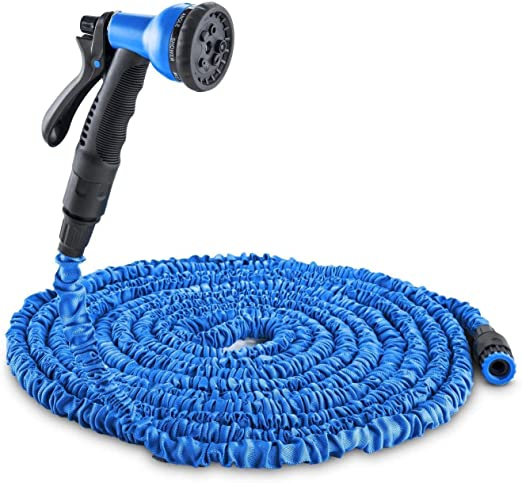 WULAU Manguera Jardin Extensible, Riego Flexible de la Pistola rociadora de Manguera de jardín, Estirable hasta 7.5-45 Metros, Adaptador de Grifo de Ducha de aspersión automática-Azul 45m: Amazon.es: Jardín