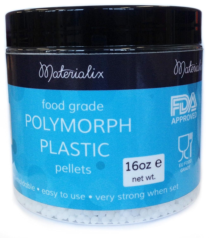 Food Grade Polymorph Plastic (FDA approved/EU Food Grade) by Materialix. 16oz tub. Moldable plastic [polydoh, plastimake] 40002-2