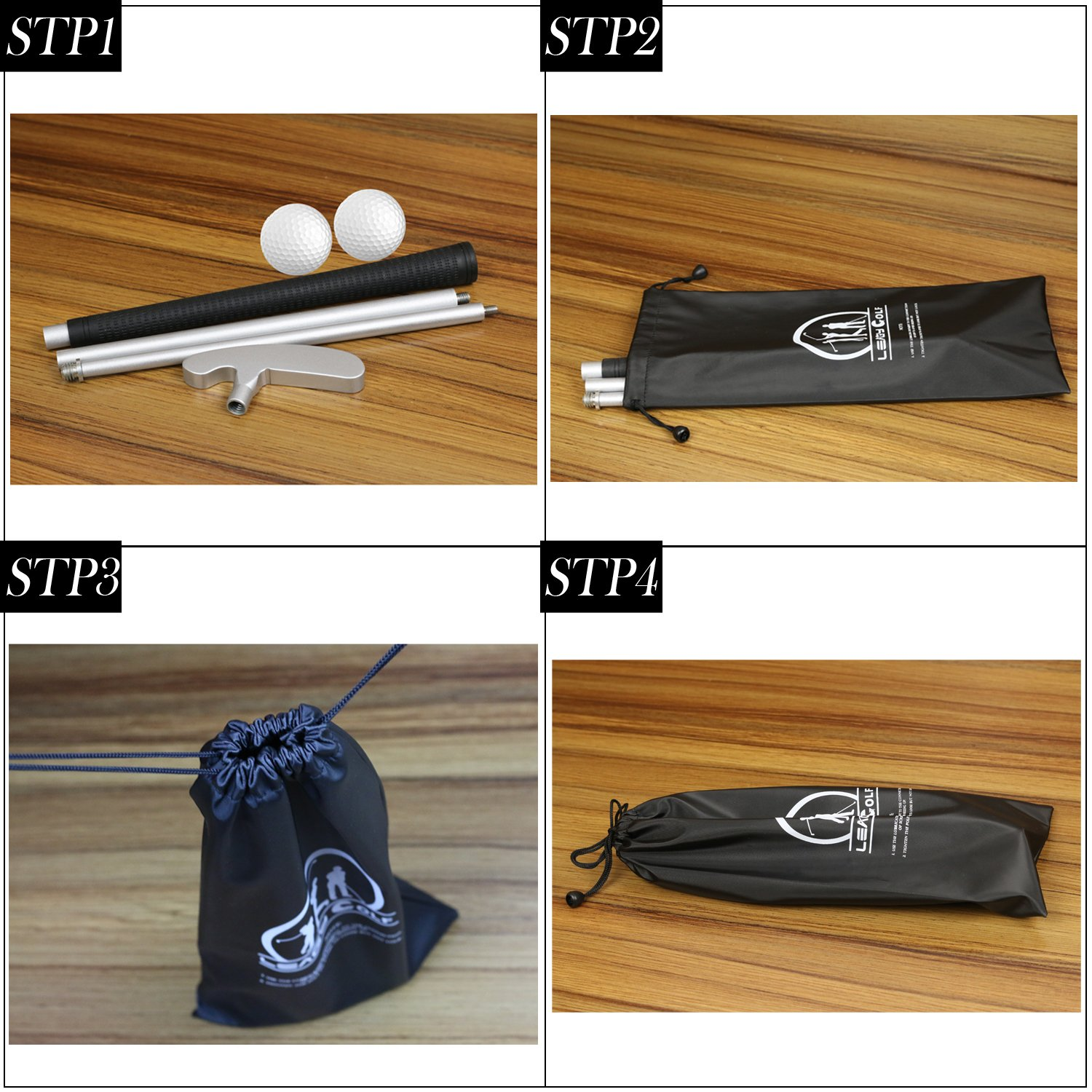 LEAGY 4 Sections Portable Best Two-Way Putter - Left And Right Hand - 2 Golf Balls Isolated On White Background - 1Pack Golf Bag by LEAGY (Image #4)