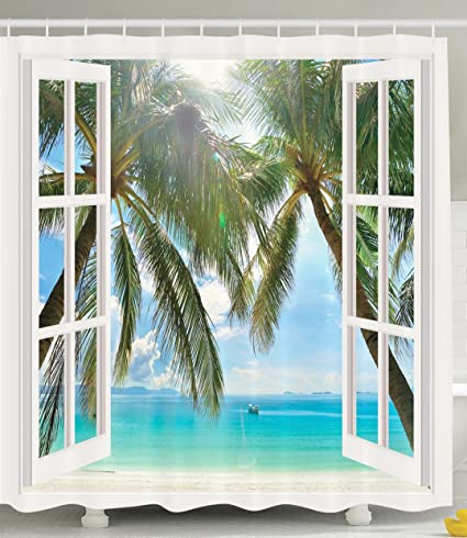 Ambesonne Ocean Decor Shower Curtain By Palm Trees Tropical Island Beach Nature Paradise Wooden Windows