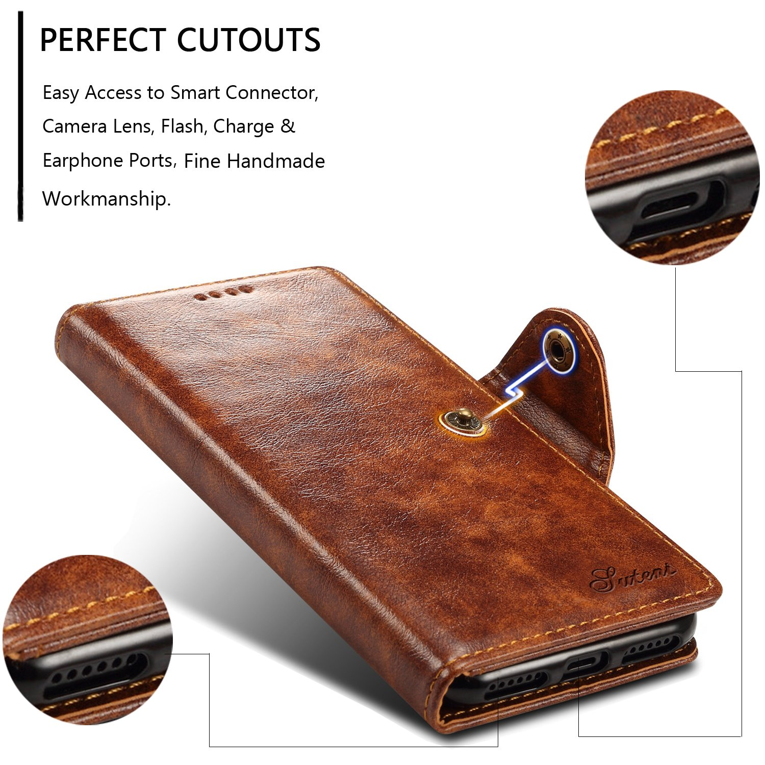 , Brown iPhone X,iPhone 7//8+ Leather Wallet Case With Card Holder Stand Folio Flip Cover 5.5 iPhone 7 Plus//8 Plus