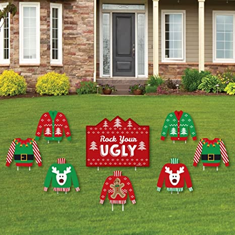 Amazon.com Ugly Sweater - Yard Sign \u0026 Outdoor Lawn Decorations - Holiday \u0026 Christmas Yard Signs - Set of 8 Toys \u0026 Games & Amazon.com: Ugly Sweater - Yard Sign \u0026 Outdoor Lawn Decorations ...