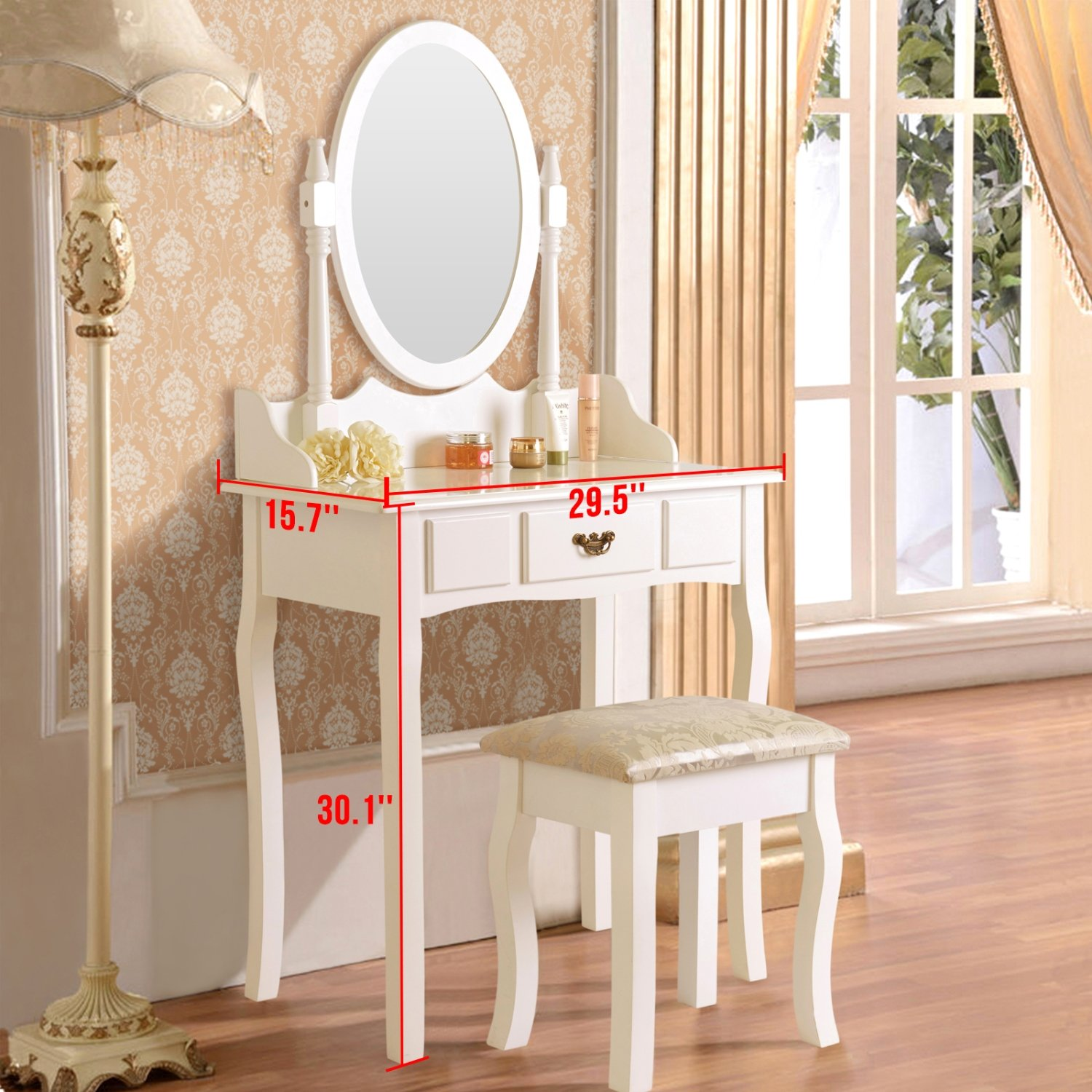 Amazon elegance dressing table makeup vanity table with stool amazon elegance dressing table makeup vanity table with stool set oval mirror white kitchen dining geotapseo Choice Image
