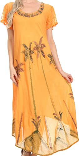 Sakkas 116 Aquarell-Palme-Behälter Kaftan Kleid - Orange / One Size