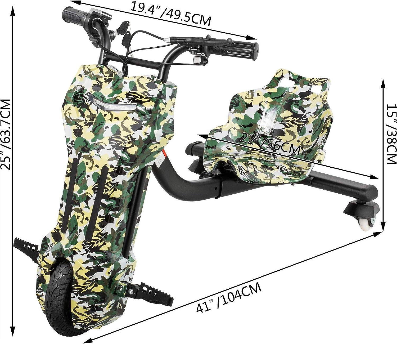 Frantools Tricycle Drift /électrique Tricycle Drift en Acier Tricycle Enfants 6-12 Ans Charge 100kg Drift Kart /électrique Araign/ée Camouflage Kart Drift Trois Niveaux de Vitesses LED D/ériver