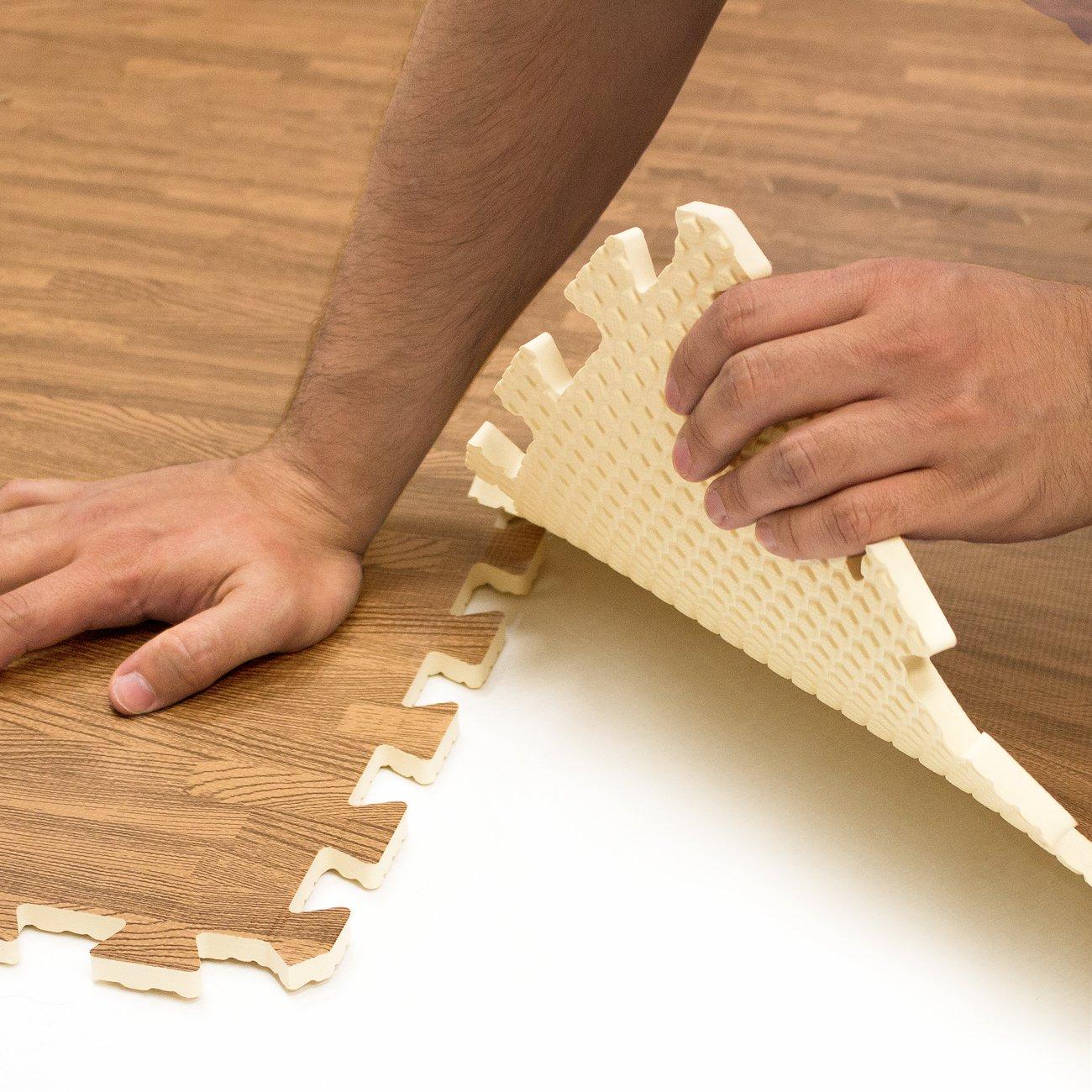 Sorbus Interlocking Floor Mat Print, Wood Grain - Light (6-Piece) by Sorbus (Image #7)