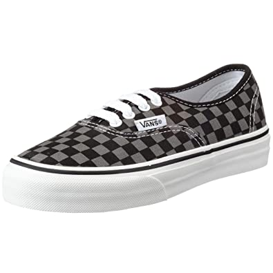 Amazon.com | Vans Authentic Checkerboard (checker) Black/Pewter ...