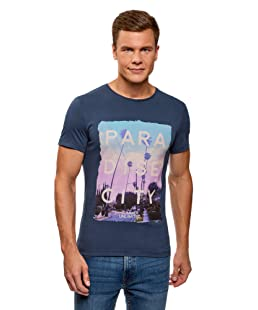 oodji Ultra Uomo T-Shirt con Stampa Estiva, Blu, IT 44-46 / EU 46-48 / S