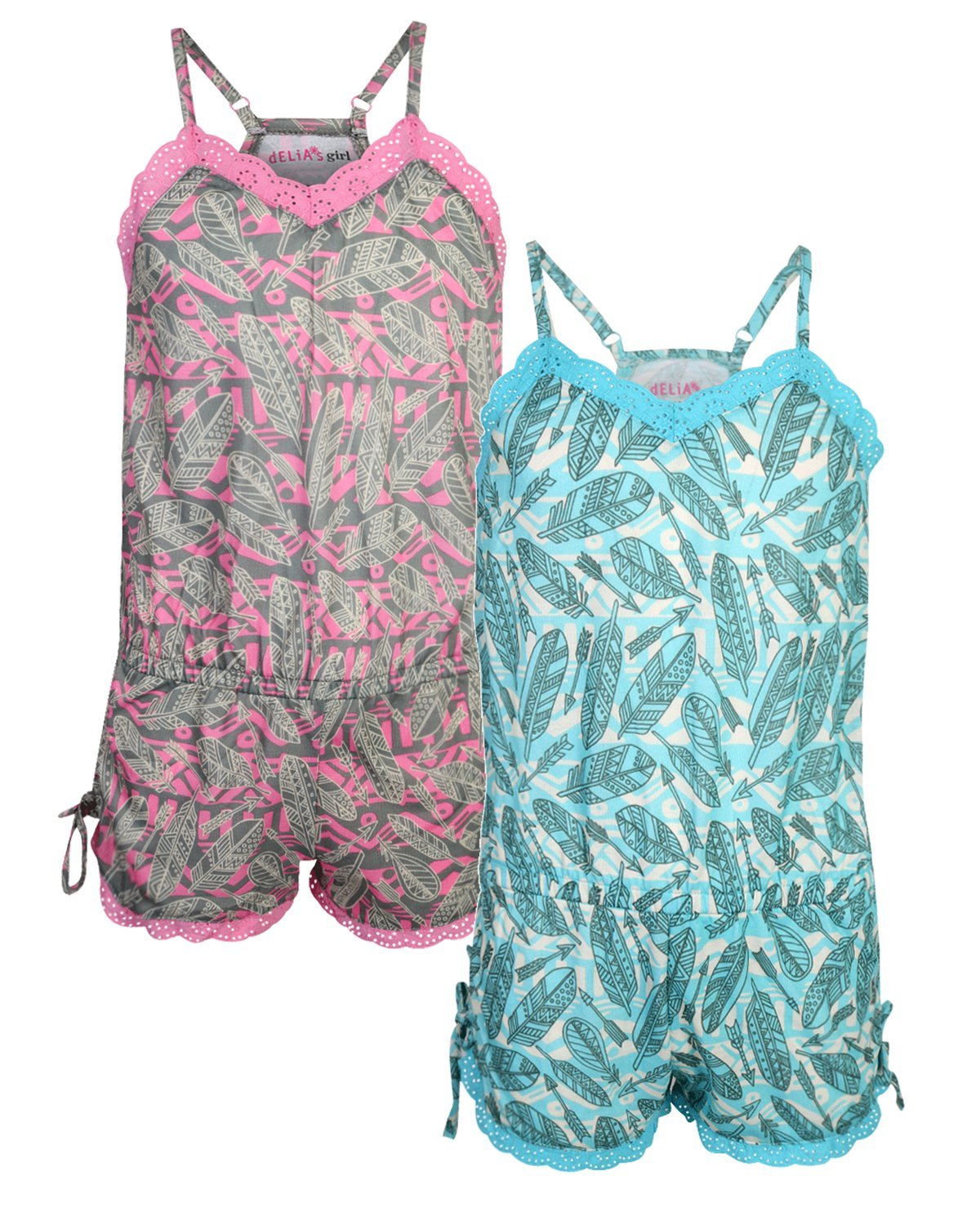 dELiA*s Girls Pajama Romper (2 Pack) Feathers, Size 10/12