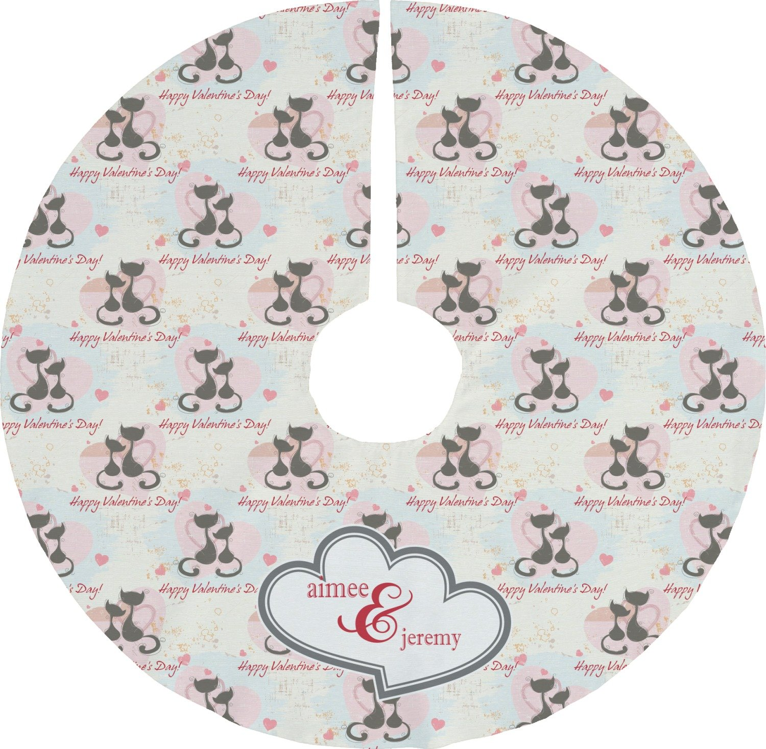 RNK Shops Cats in Love Tree Skirt (Personalized)