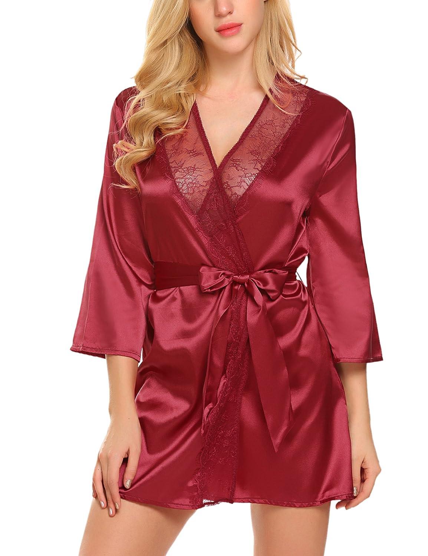 ADOME Women's Short Satin Kimono Robe Lingerie Silk Bathrobe Nightgown Sleepwear Pure Color ADML007388