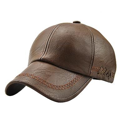 77b3634b3f5b1 UNIQUEBELLA Casquette Baseball en Simili Cuir Homme/Femme Vintage Flat  Cap-Marron