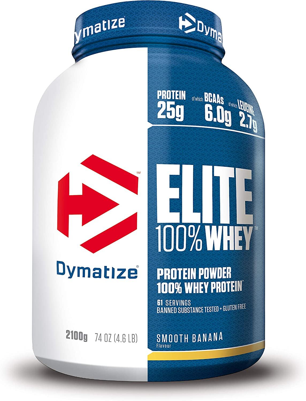 Dymatize Elite Whey Smooth Banana 2,1Kg - Pulverizador de alta Poteína y Baja Azúcar + Proteína de Suero y BCAA