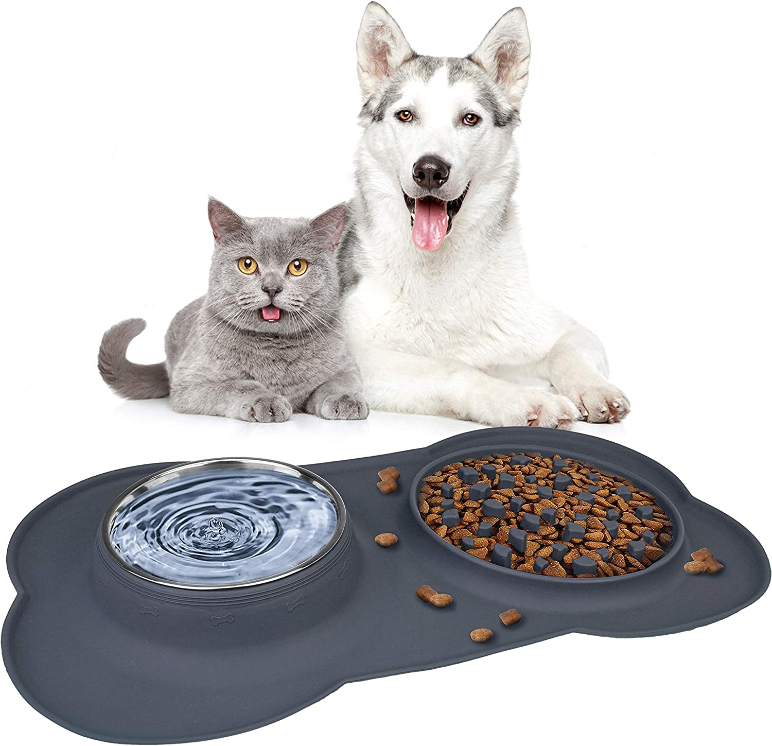 Double Dog Bowls, Pet Stainless Steel Water Bowl,3 in 1 Dog Slow Feeder with Non-Spill Silicone Tray Bone Shape Non-Slip Mat, Collapsible Removable Dog Cat Food Water Bowl