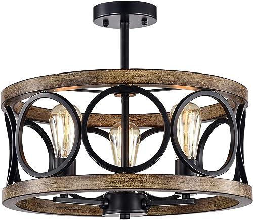 Deal of the week: Warehouse of Tiffany CM135/3 Shacer Matte Black/Imitation Wood Grain 3-Light Chandelier