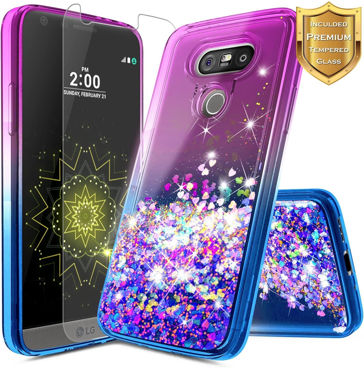 LG V20 Case w/[Tempered Glass Screen Protector], NageBee Glitter Liquid Quicksand Waterfall Floating Flowing Sparkle Shiny Bling Diamond Girls Cute Case for LG V20 -Purple/Blue