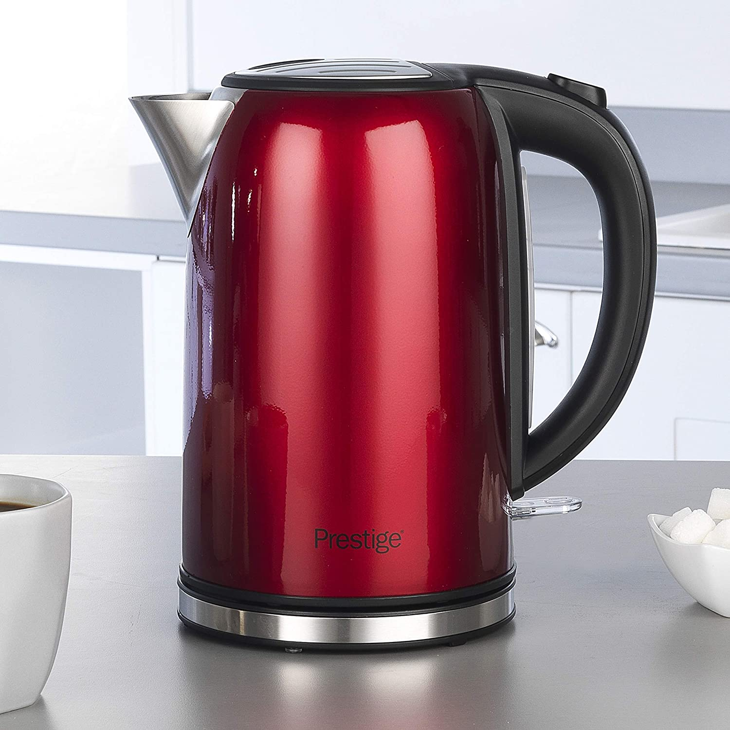 Rapid Boil Stainless Steel 3000W 1.7 Litre Prestige 46120 Cordless Kettle 3000 W Pearlescent Red 1.7 liters