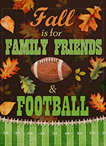 Covido Autumn Home Decorative Garden Flag, Fall is for Family Friends & Football Thanksgiving House Yard Outdoor Small Flag Double Sided, Maple Farmhouse Outside Decoration Seasonal Decor Flag 12 x 18
