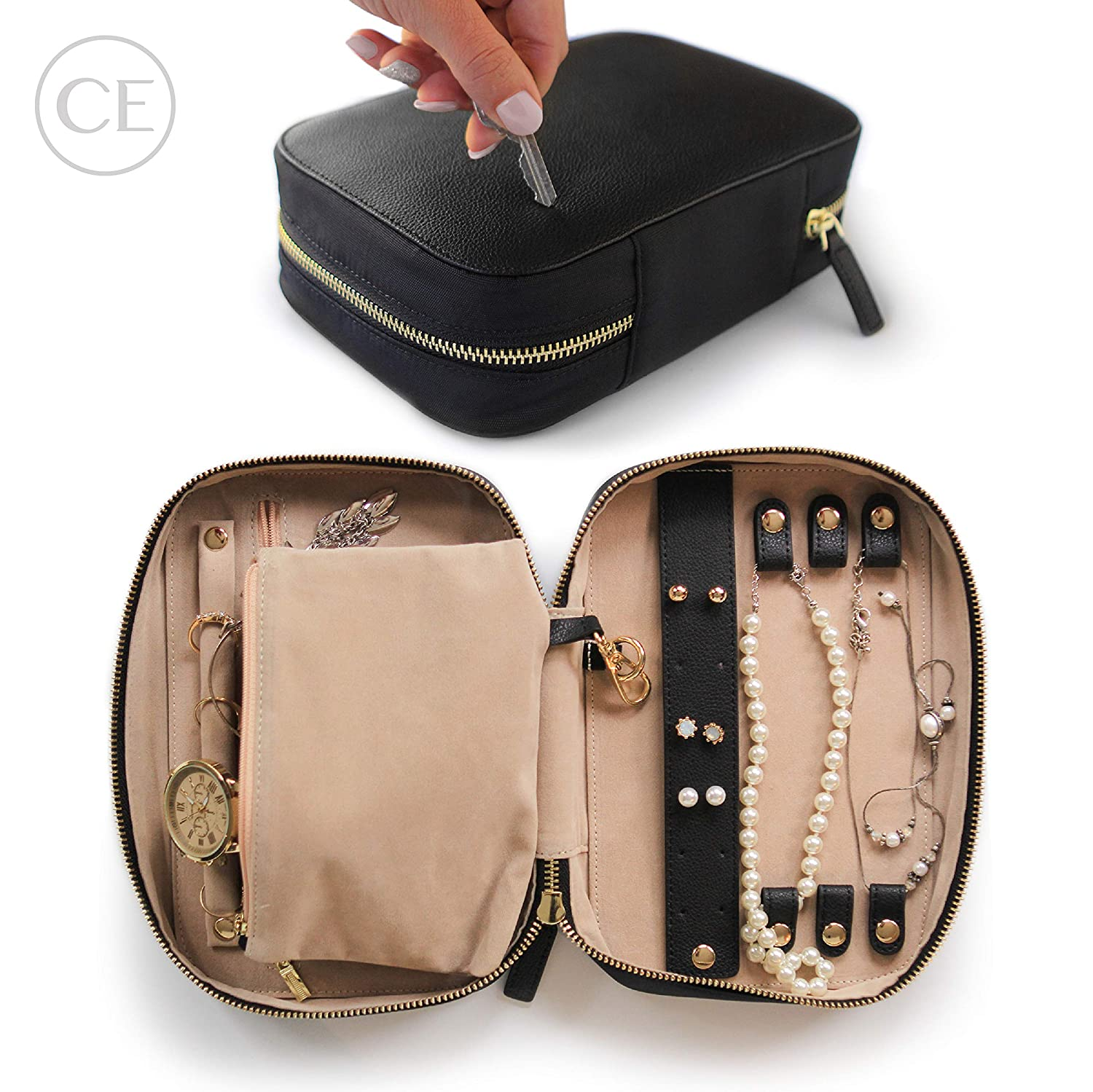 644733cd1 CASE ELEGANCE Large Jewelry Travel Organizer with Full-Grain Scratch-Proof  Leather
