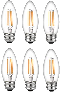 Bioluz LED 60 Watt Candelabra Bulbs Medium Base, Candelabra Bulbs, Dimmable Filament Clear 60