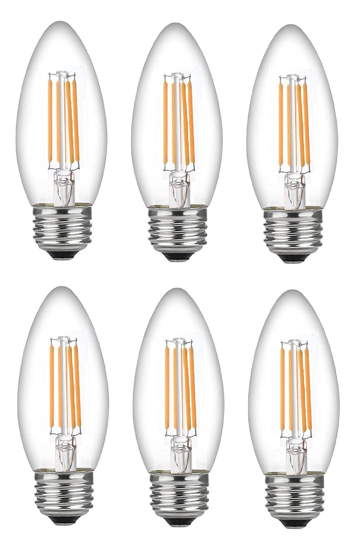 Bioluz LED 60 Watt Candelabra Bulbs Medium Base, Candelabra Bulbs, Dimmable Filament Clear 60 Watt LED Bulbs (Uses only 4.5 watts), E26 Base, C37 LED Filament Candle Bulbs, Pack of 6