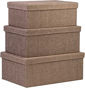 Creative Scents Storage Box Set with Lids - 3-Pcs Stackable Decorative Boxes for Shelf Storage - Closet Organization for Home and Office Large/Medium/Small Sizes (Sand Dunes)