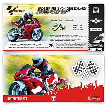 Einladungskarten Zum Geburtstag 50 Stuck Als Motorrad Rennen