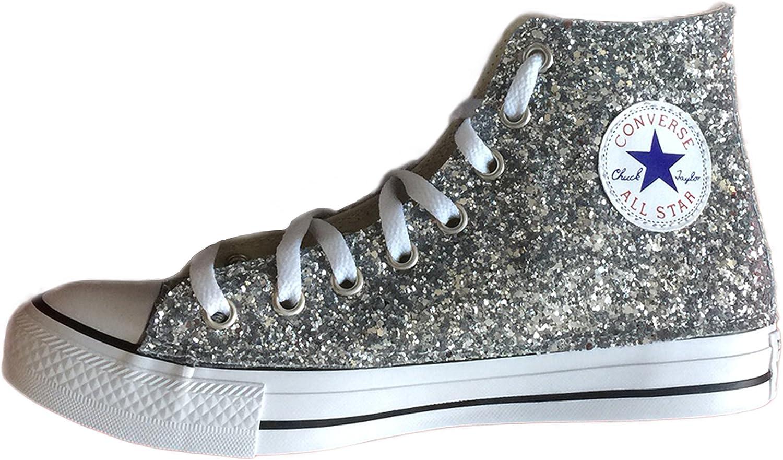 converse glitter argento online