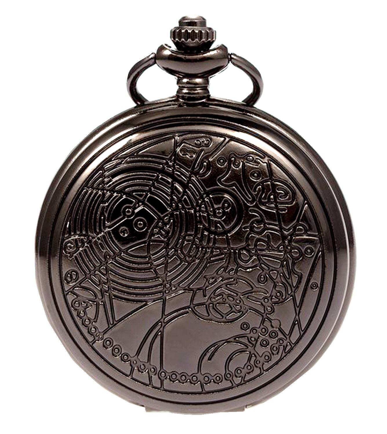 Vintage Black Doctor Who Retro Dr. Who Quartz Pocket Watch with Chain & Gift Box by New Brand Mall (Image #1)