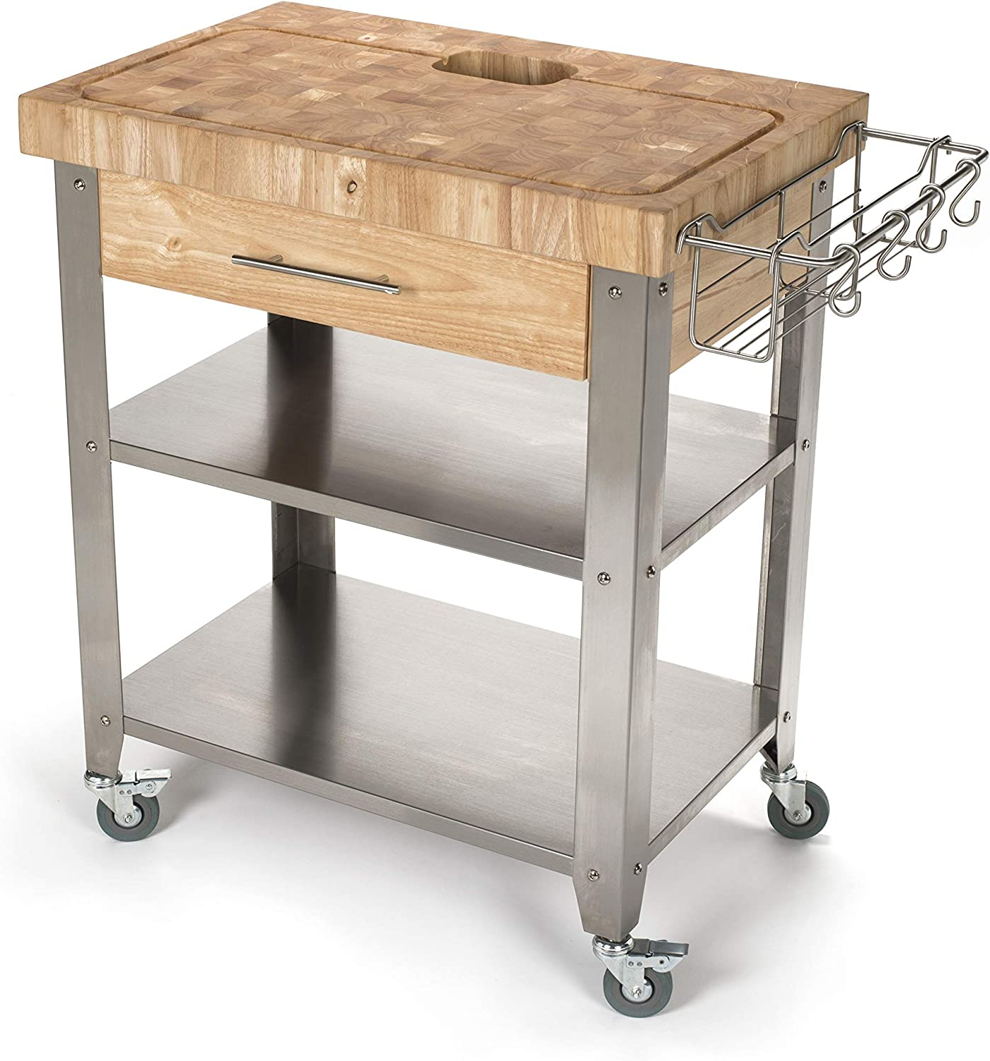 Chris & Chris JET8 Rolling Kitchen Island - Portable Food Prep Table with  Durable Cutting Surface, Juice Groove & Collection Pan