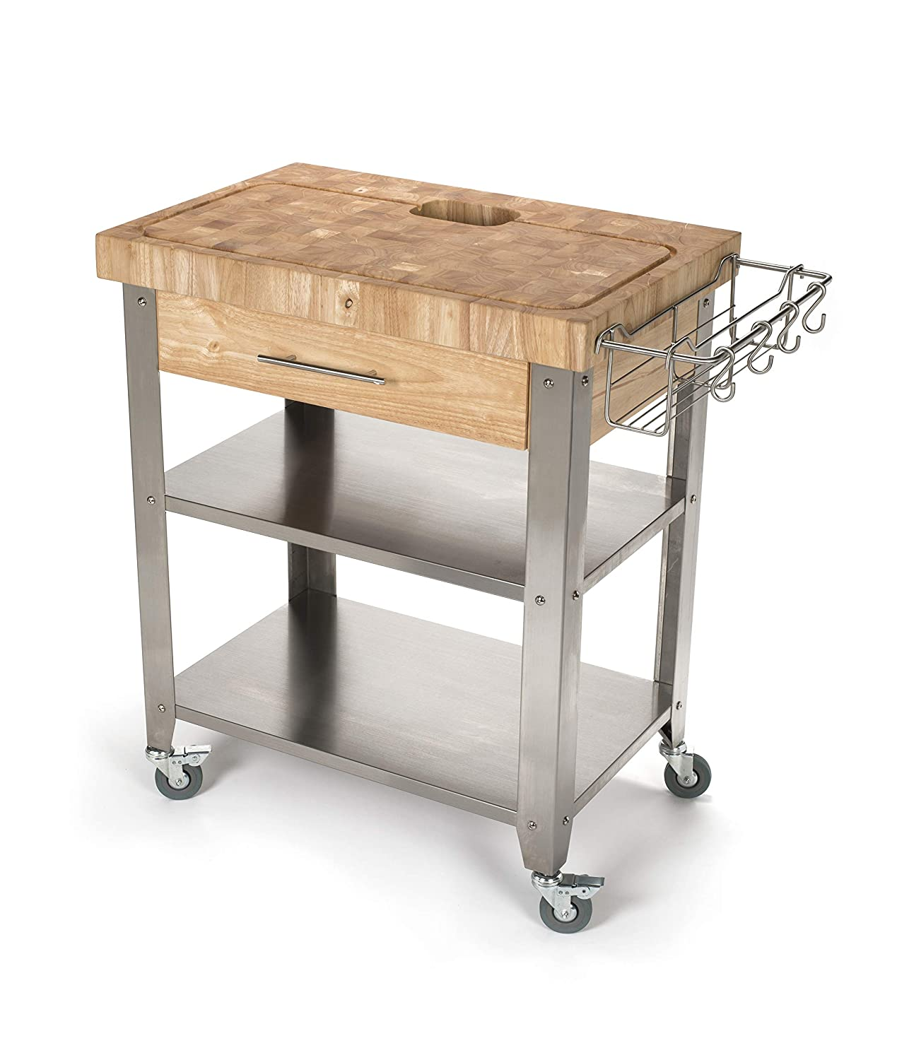 Chris Chris JET018 Rolling Kitchen Island-Portable Food Prep Table with Durable Cutting Surface, Juice Groove Collection Pan-Includes Storage Drawer, Spice Rack, 2 Stainless Steel Shelves, Natural