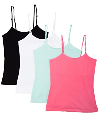 Amazon.com: Caramel Cantina Girls 4 Pack Cami Tanks with Shelf ...