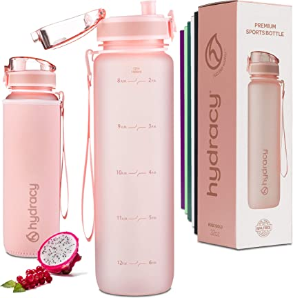 Hydracy Water Bottle with Time Marker 32 Oz BPA Free