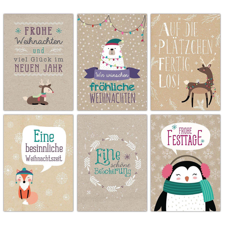 Set di biglietti di Natale, lavagnetta bianca e nera, 12 graziose cartoline di Natale, set di cartoline di Papierdrachen Packpapier