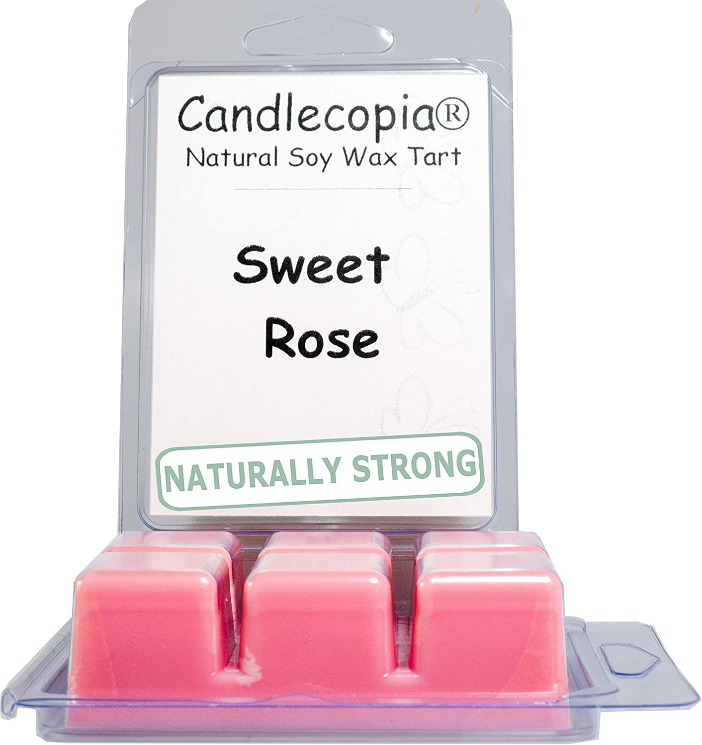 Candlecopia Sweet Rose Strongly Scented Hand Poured Vegan Wax Melts, 12 Scented Wax Cubes, 6.4 Ounces in 2 x 6-Packs