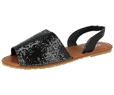 d59757f5a Ella Ladies Menorcan Sling Back Open Toe Flat Spanish Summer Sandals Size  3-8 (