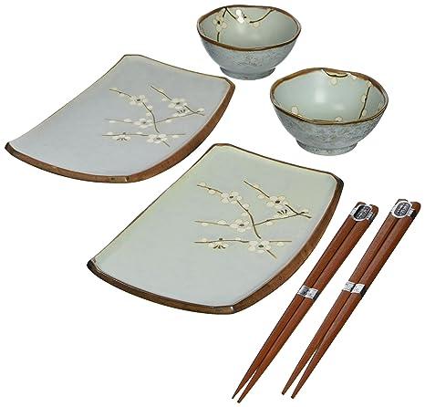Miya Spring Blossom Japanese Sushi Plate Gift Set With 2 Pair Of  Chopsticks, Sushi