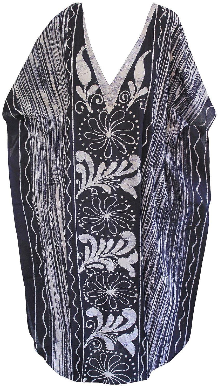 La Leela 100% Cotton Women Evening Gown Day Dress Long Caftan Hand Batik V Neck LK Cotton LEAF 1 Ref (2225)